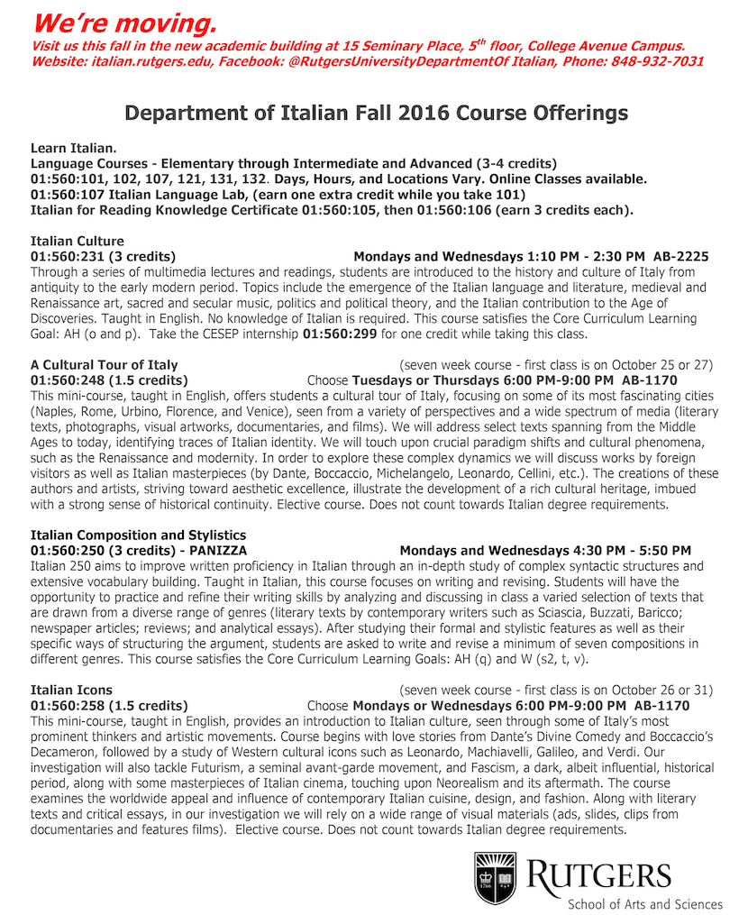 Fall 2016 Course Offerings 1