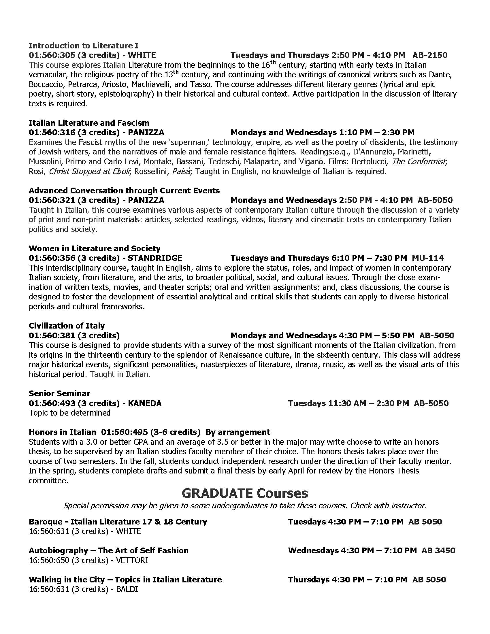 Fall 2016 Course Offerings Page 2